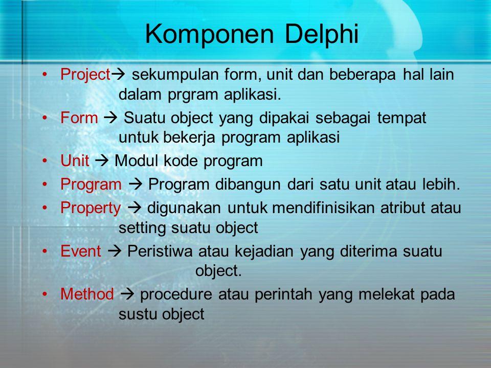 Komponen Delphi Project sekumpulan form, unit dan beberapa hal lain dalam prgram aplikasi.