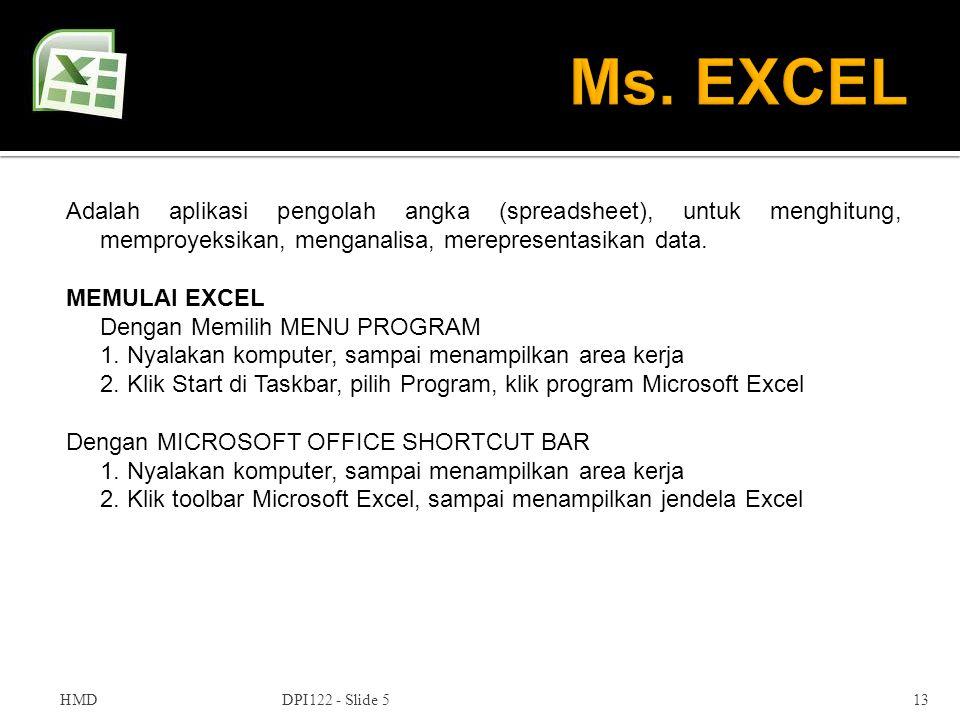 Ms. EXCEL Adalah aplikasi pengolah angka (spreadsheet), untuk menghitung, memproyeksikan, menganalisa, merepresentasikan data.