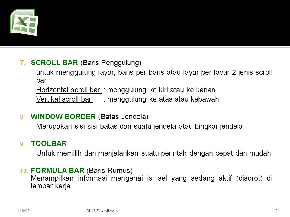 SCROLL BAR (Baris Penggulung)
