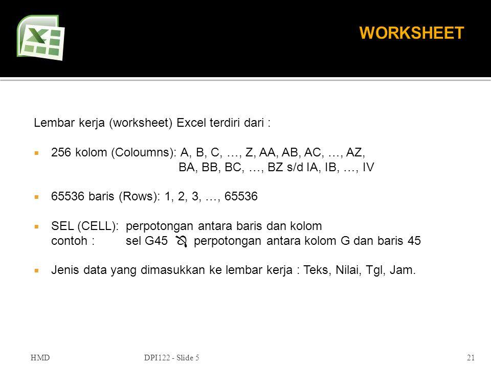 WORKSHEET Lembar kerja (worksheet) Excel terdiri dari :