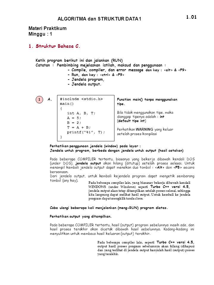 ALGORITMA dan STRUKTUR DATA 1 1.01