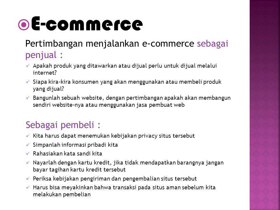 E-commerce Sebagai pembeli :