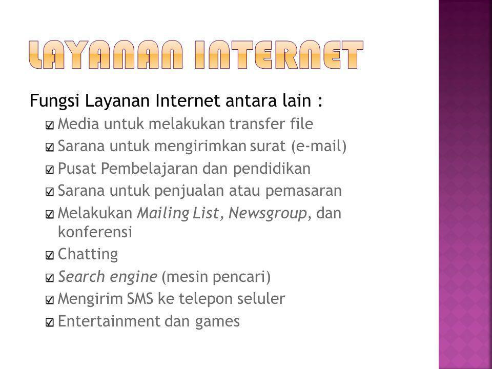 Layanan internet Fungsi Layanan Internet antara lain :
