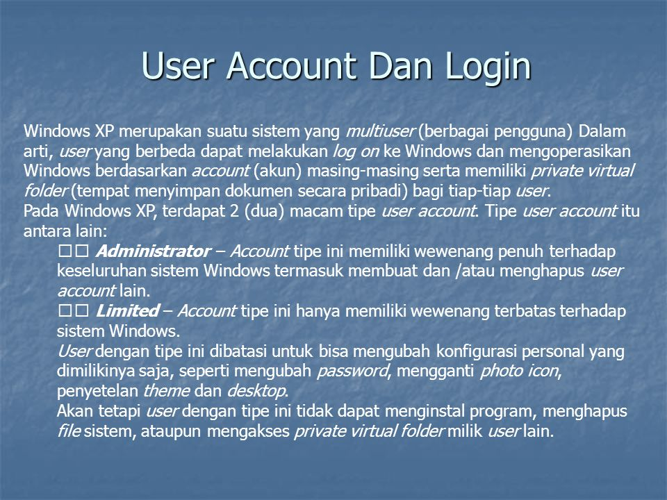 User Account Dan Login