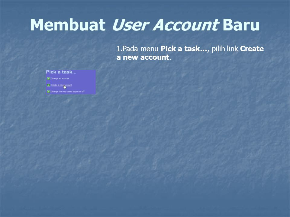 Membuat User Account Baru
