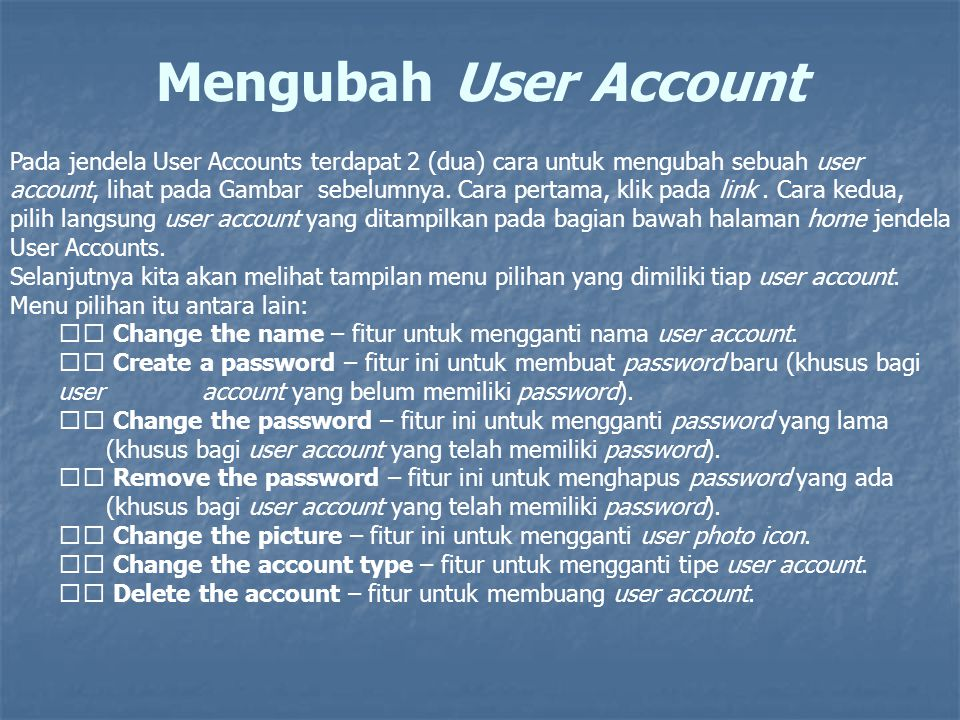 Mengubah User Account