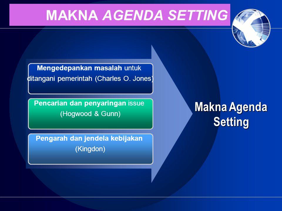 MAKNA AGENDA SETTING Makna Agenda Setting Mengedepankan masalah untuk