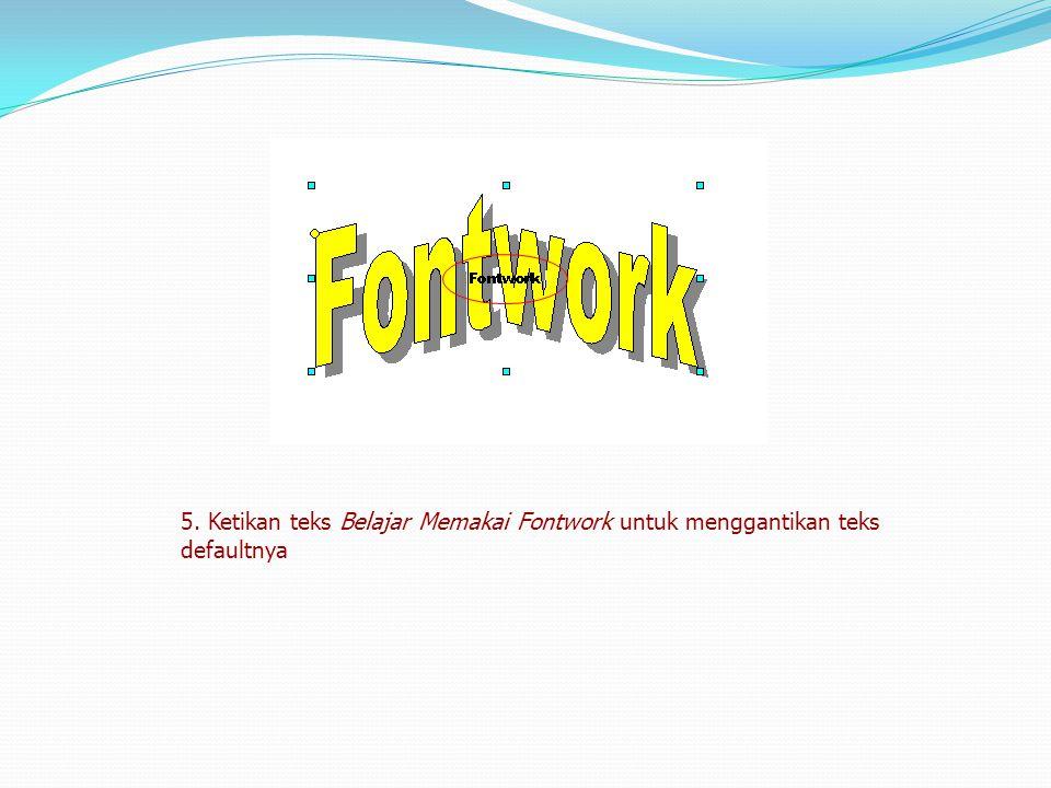 5. Ketikan teks Belajar Memakai Fontwork untuk menggantikan teks defaultnya
