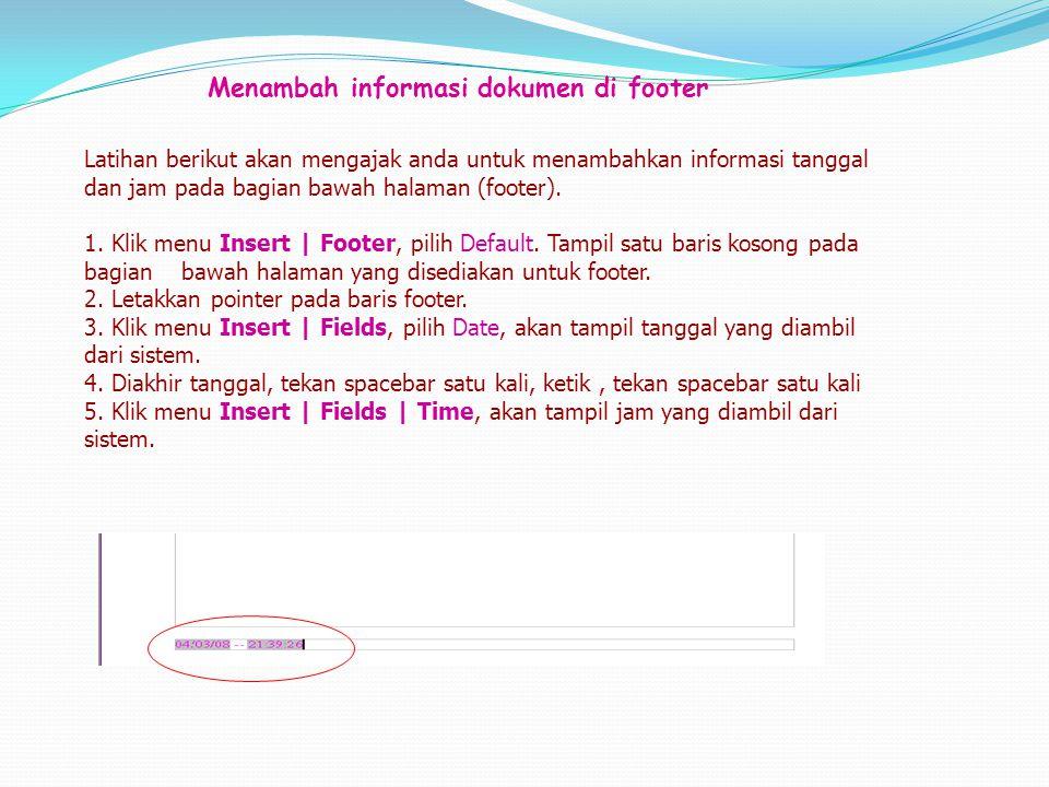 Menambah informasi dokumen di footer