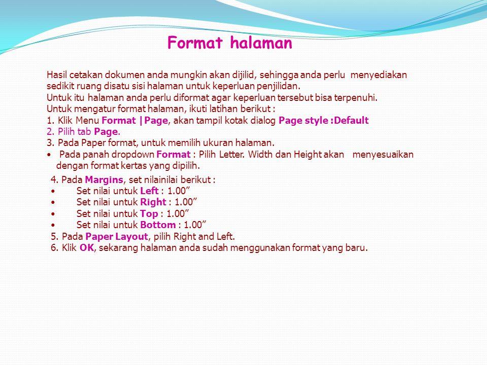 Format halaman