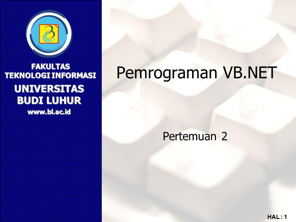 Pemrograman VB.NET Pertemuan 2