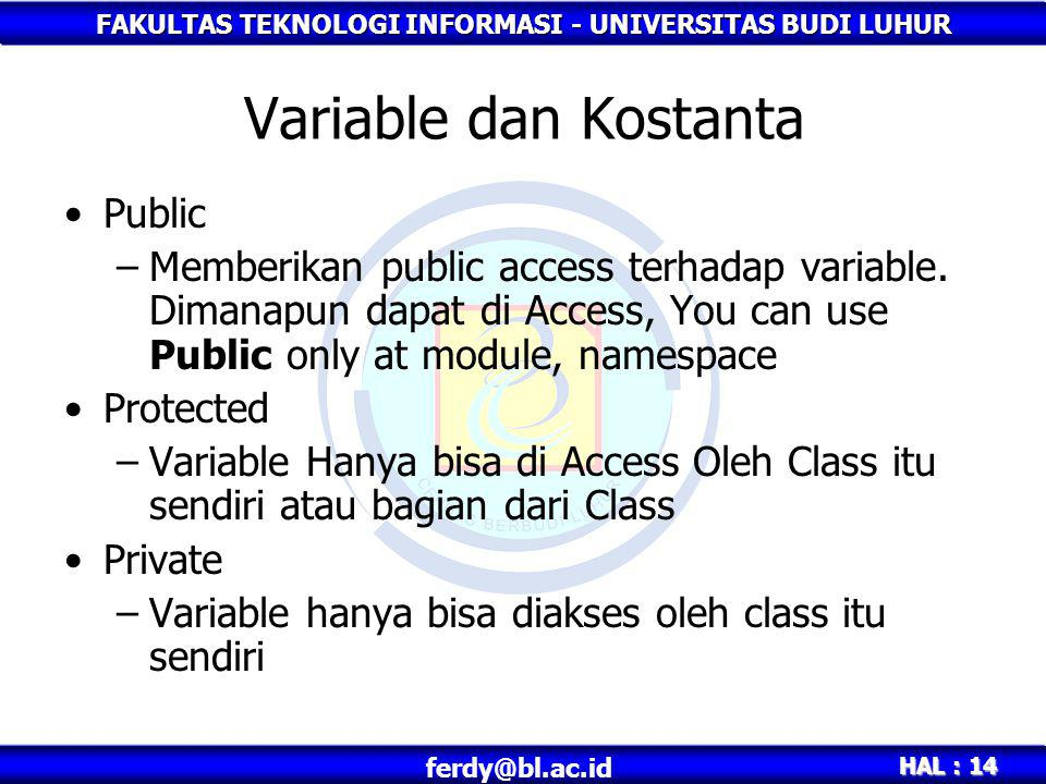 Variable dan Kostanta Public