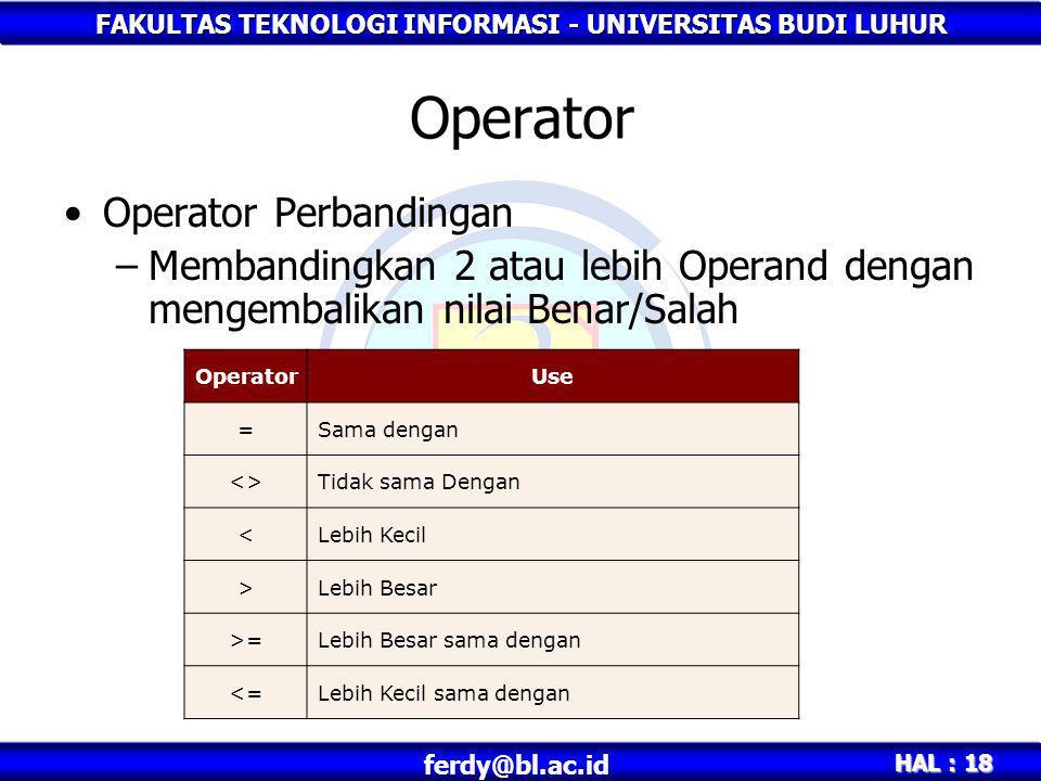 Operator Operator Perbandingan