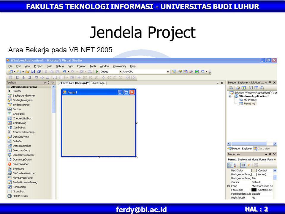 Jendela Project Area Bekerja pada VB.NET 2005