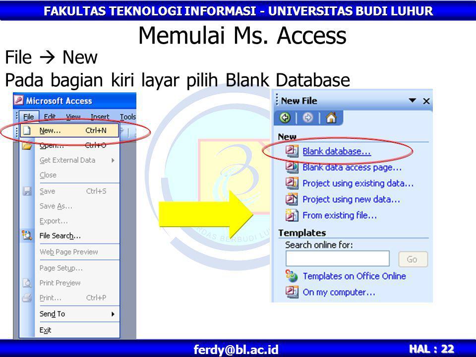 File  New Pada bagian kiri layar pilih Blank Database