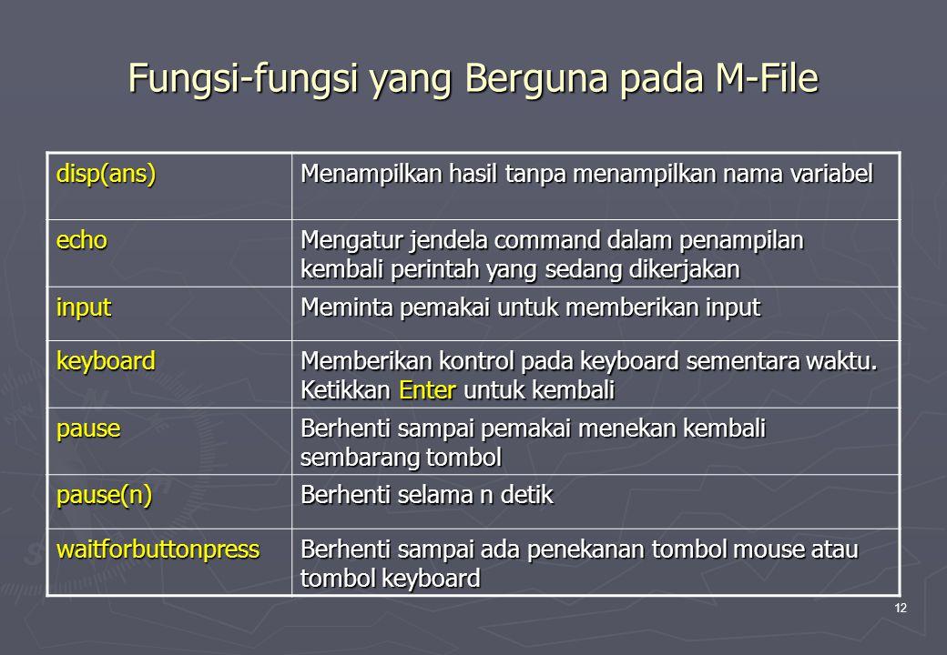 Fungsi-fungsi yang Berguna pada M-File