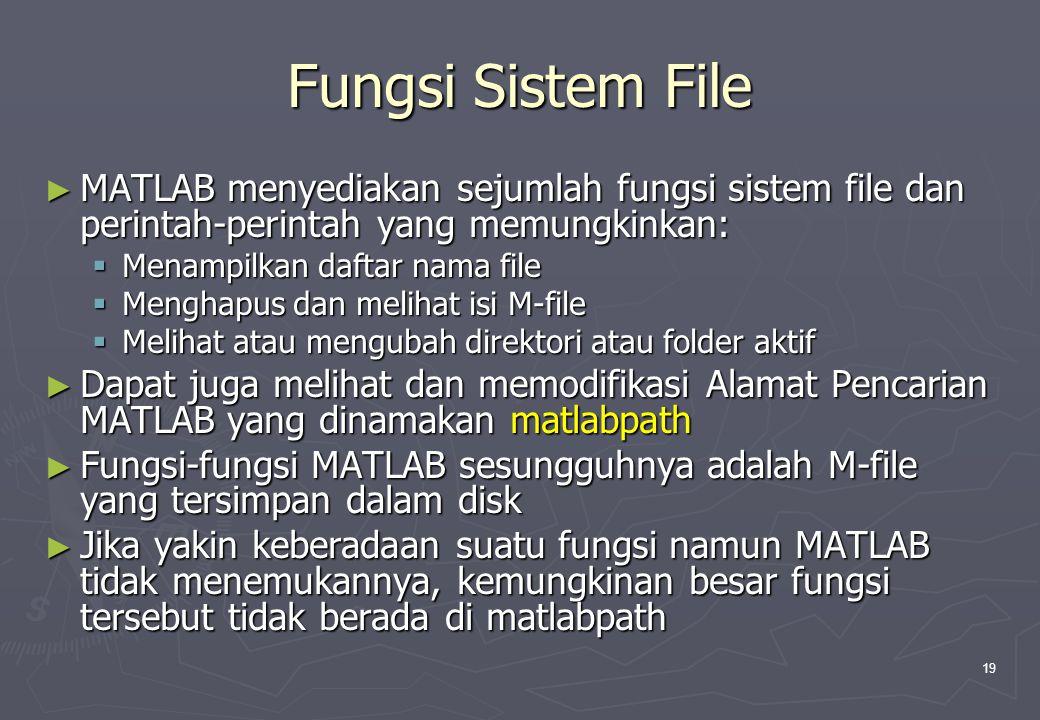 Fungsi Sistem File MATLAB menyediakan sejumlah fungsi sistem file dan perintah-perintah yang memungkinkan: