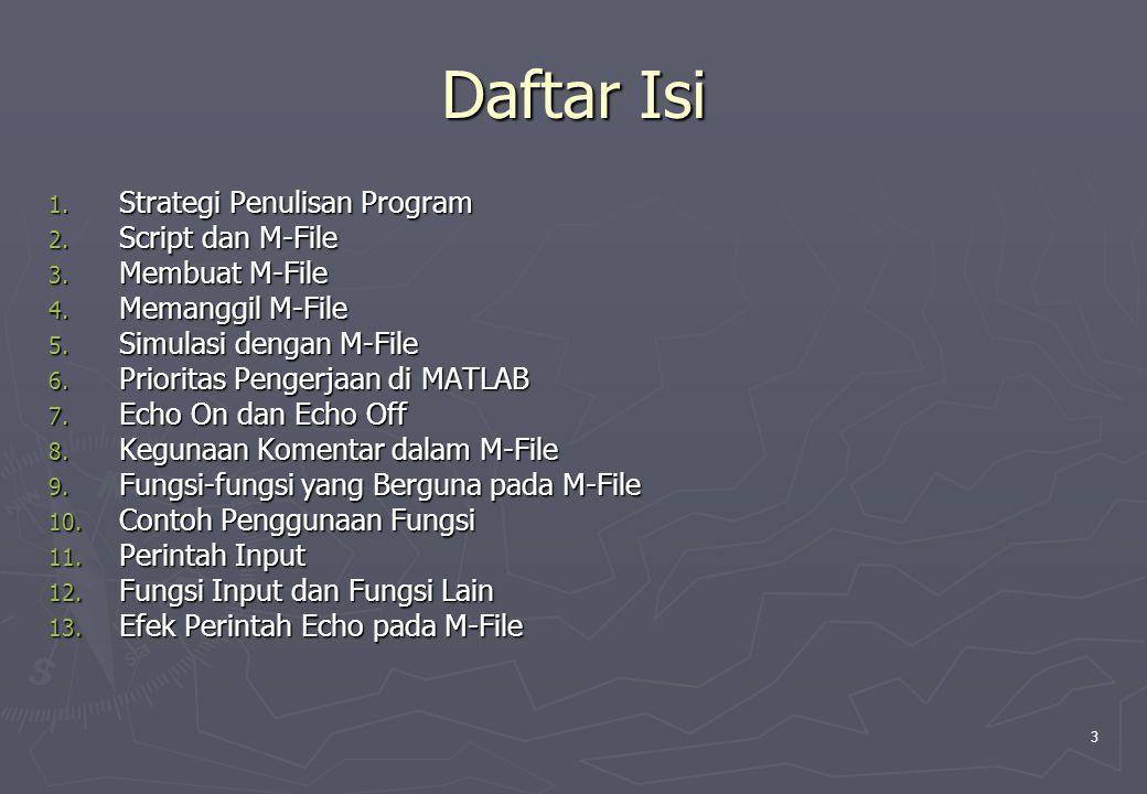 Daftar Isi Strategi Penulisan Program Script dan M-File Membuat M-File