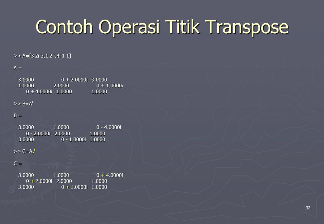 Contoh Operasi Titik Transpose