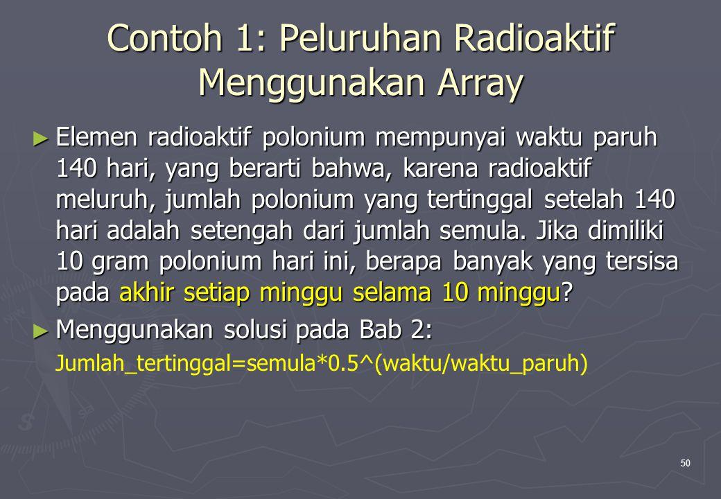 Contoh 1: Peluruhan Radioaktif Menggunakan Array