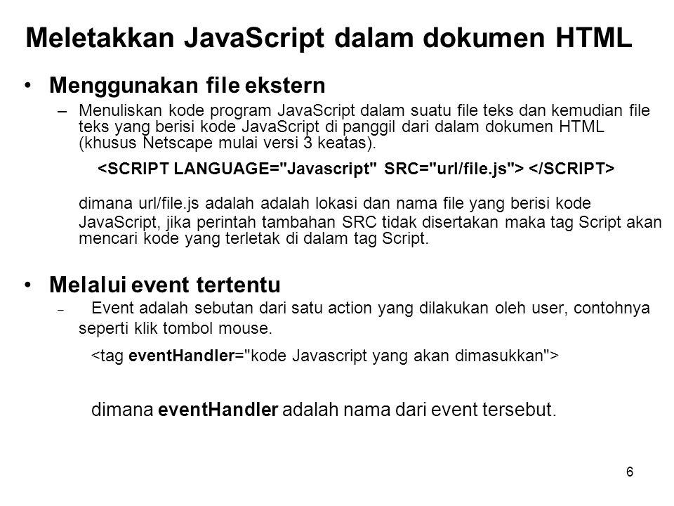 Meletakkan JavaScript dalam dokumen HTML