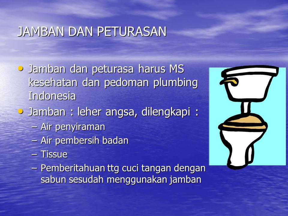 JAMBAN DAN PETURASAN Jamban dan peturasa harus MS kesehatan dan pedoman plumbing Indonesia. Jamban : leher angsa, dilengkapi :