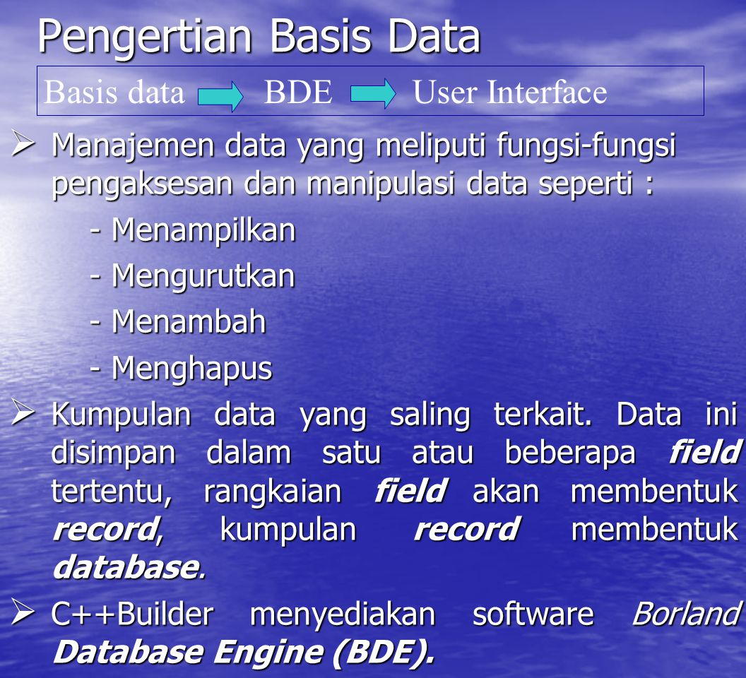 Pengertian Basis Data Basis data BDE User Interface