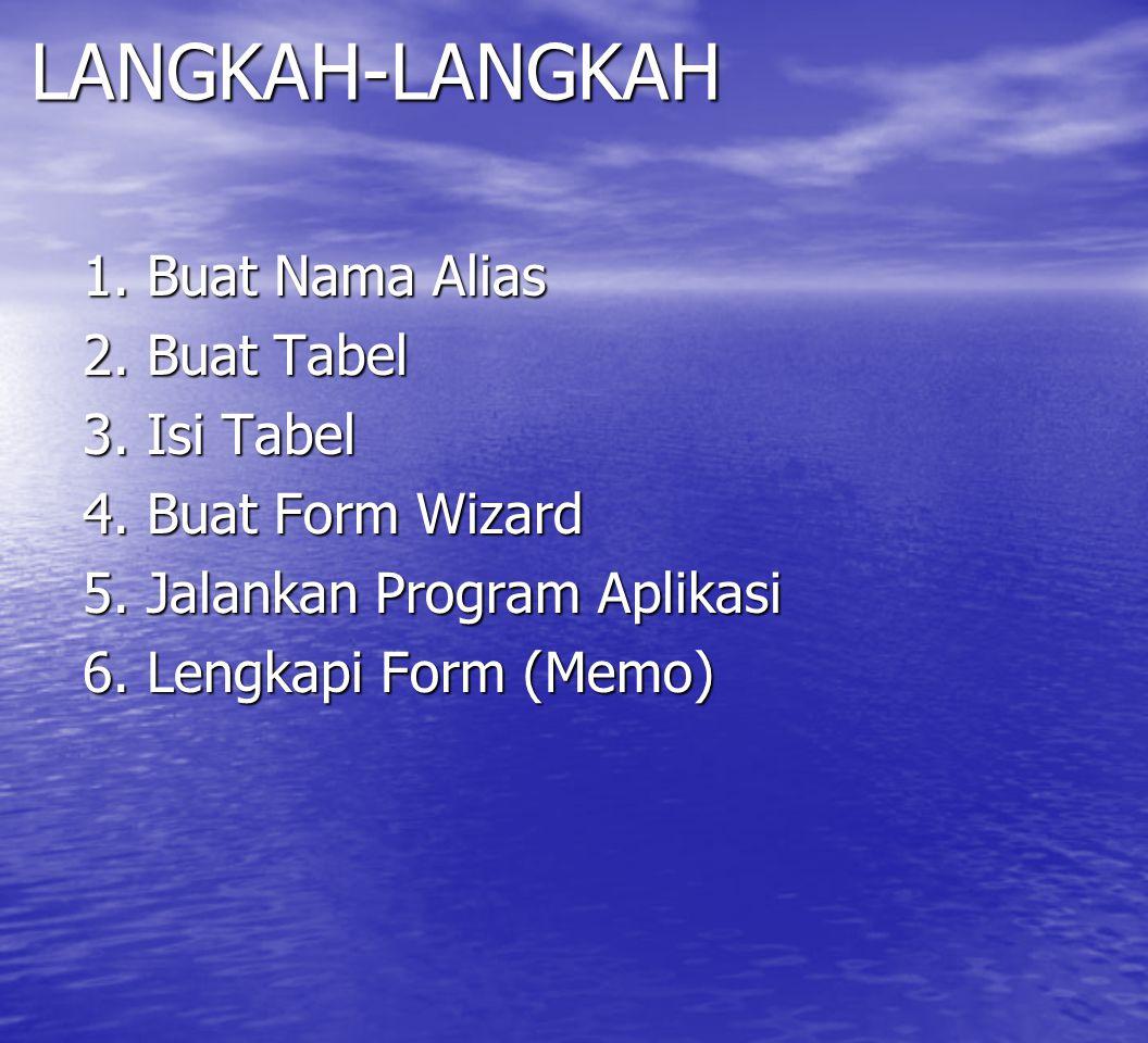LANGKAH-LANGKAH 1. Buat Nama Alias 2. Buat Tabel 3. Isi Tabel