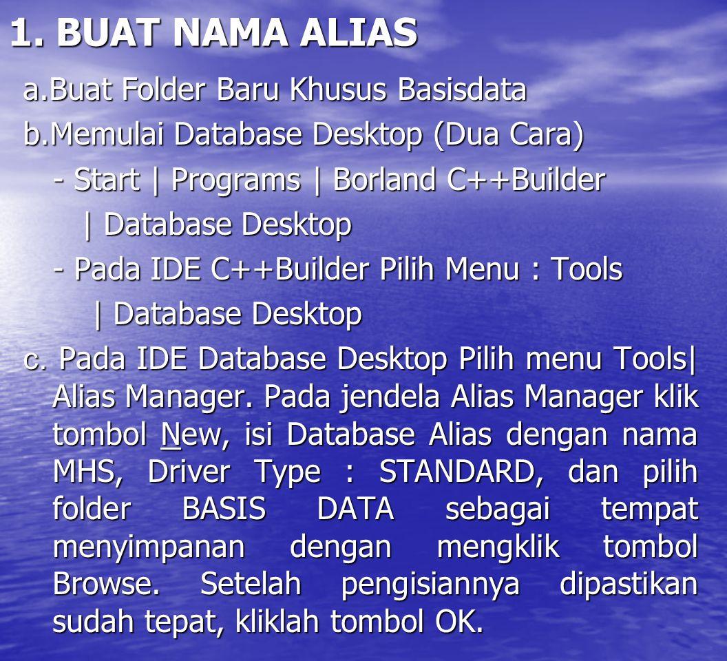 1. BUAT NAMA ALIAS a.Buat Folder Baru Khusus Basisdata