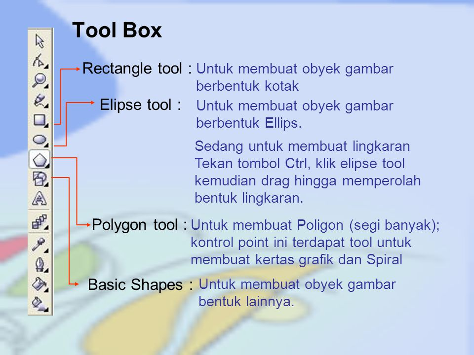Tool Box Rectangle tool : Elipse tool : Polygon tool : Basic Shapes :