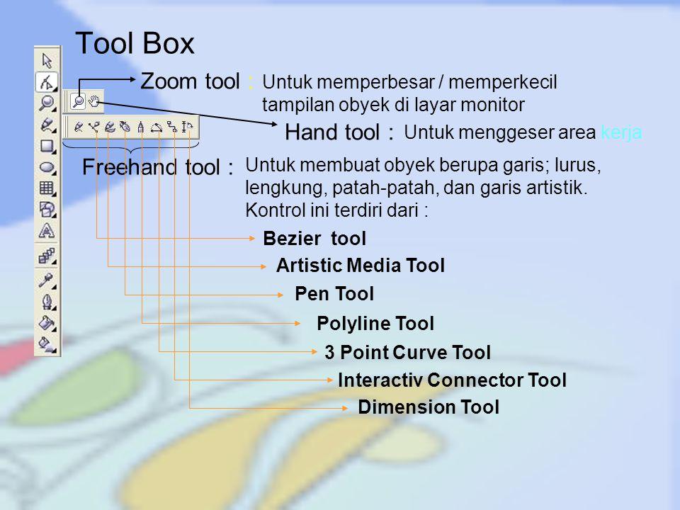 Tool Box Zoom tool : Hand tool : Freehand tool :