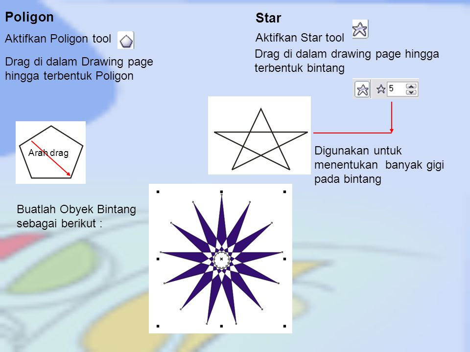 Poligon Star Aktifkan Poligon tool Aktifkan Star tool