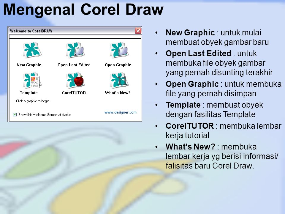 Mengenal Corel Draw New Graphic : untuk mulai membuat obyek gambar baru.