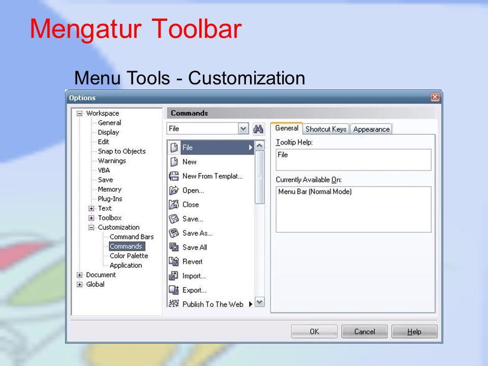Mengatur Toolbar Menu Tools - Customization