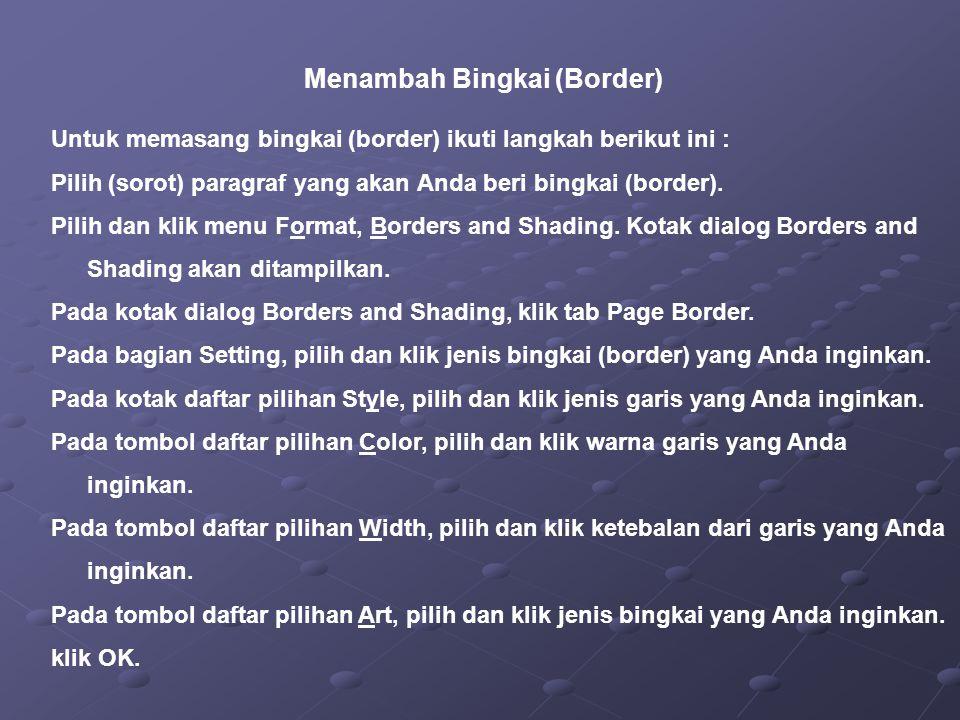 Menambah Bingkai (Border)