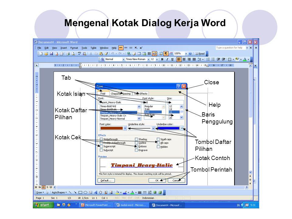 Mengenal Kotak Dialog Kerja Word