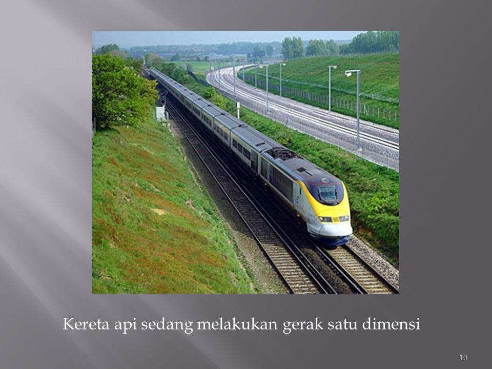 Kereta api sedang melakukan gerak satu dimensi