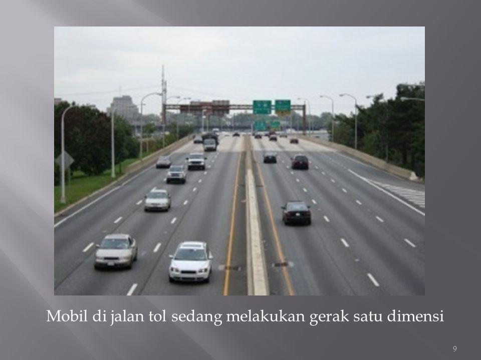 Mobil di jalan tol sedang melakukan gerak satu dimensi