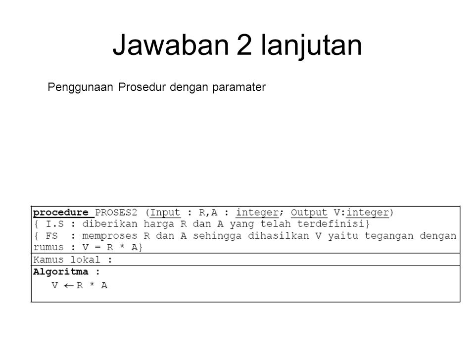 Jawaban 2 lanjutan Penggunaan Prosedur dengan paramater
