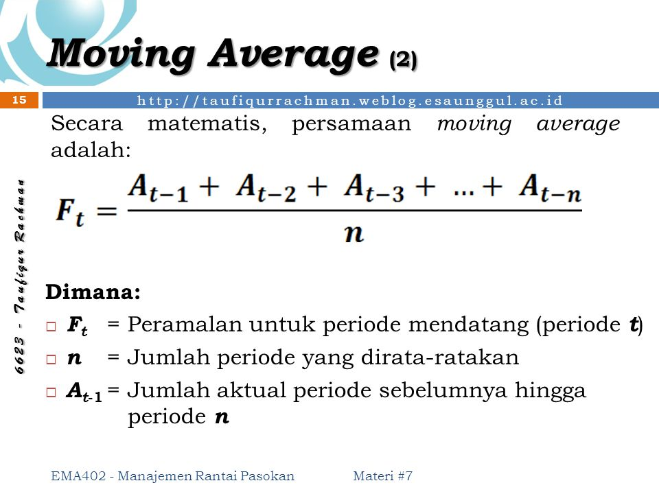 Moving Average (2) Secara matematis, persamaan moving average adalah:
