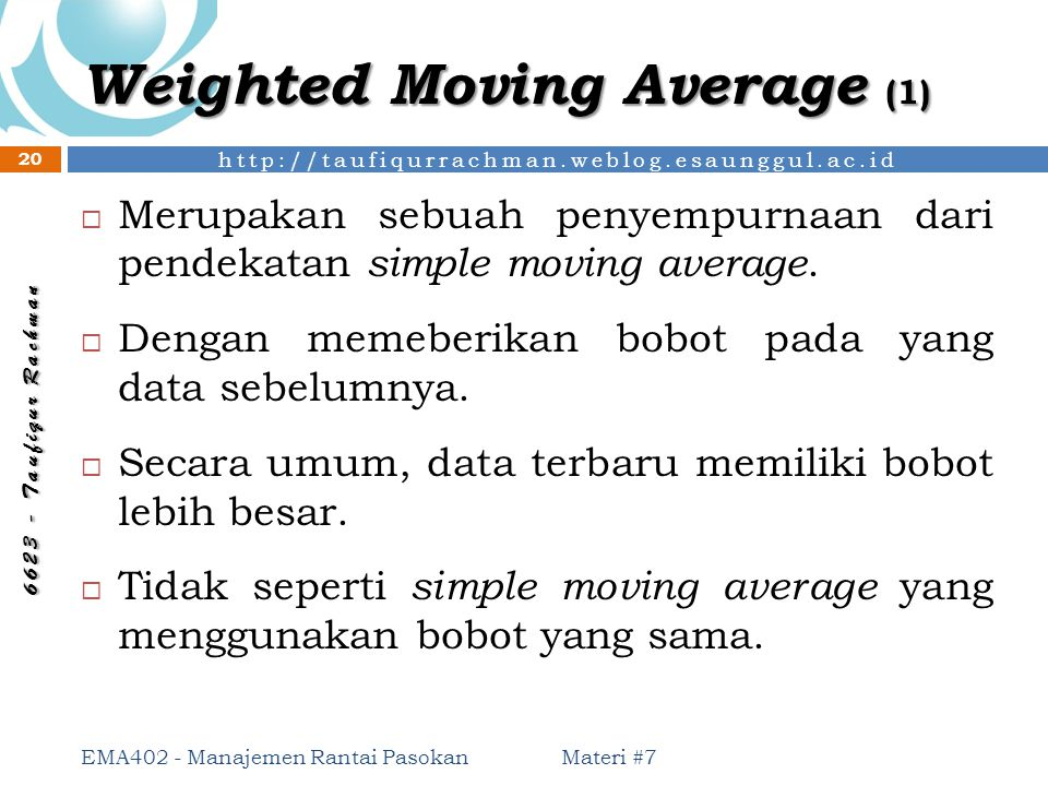 Weighted Moving Average (1)