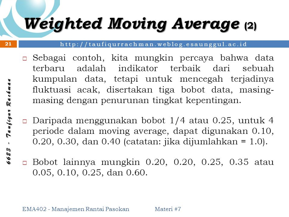 Weighted Moving Average (2)
