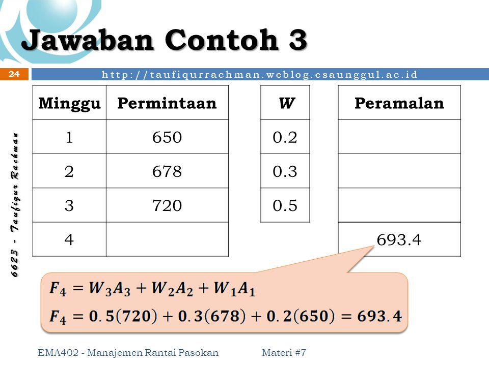 Jawaban Contoh 3 Minggu Permintaan 1 650 2 678 3 720 4 W 0.2 0.3 0.5
