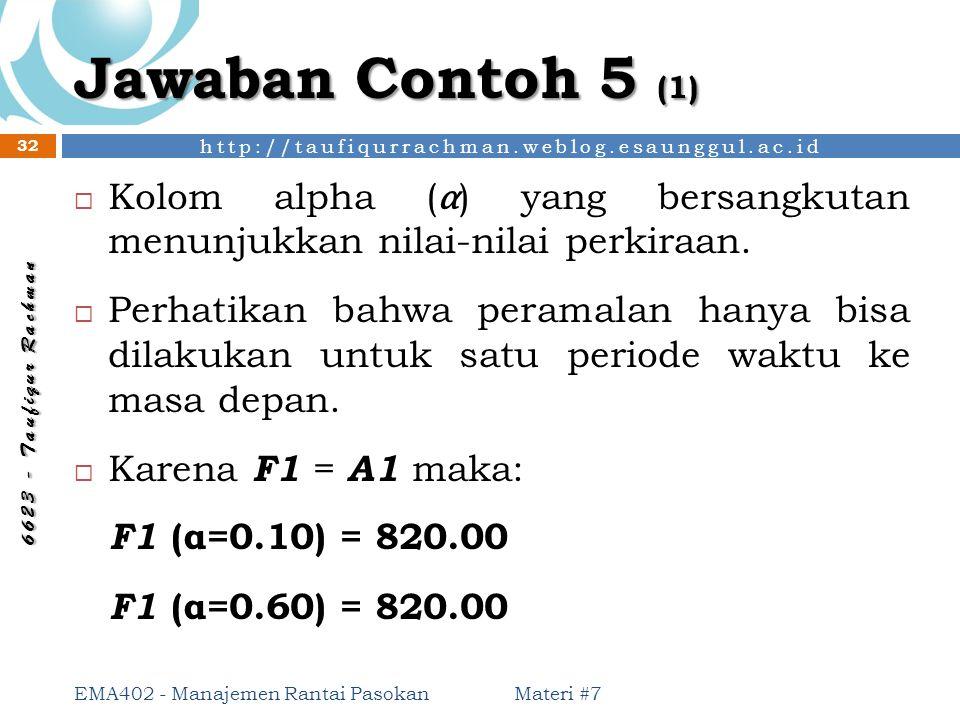 Jawaban Contoh 5 (1) Kolom alpha (α) yang bersangkutan menunjukkan nilai-nilai perkiraan.