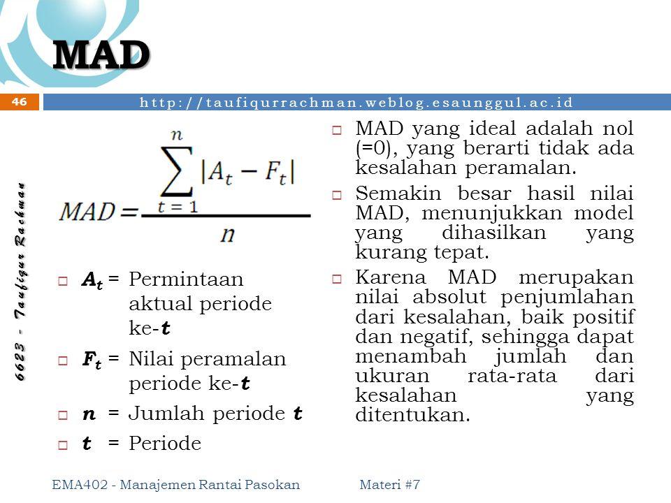 MAD MAD yang ideal adalah nol (=0), yang berarti tidak ada kesalahan peramalan.