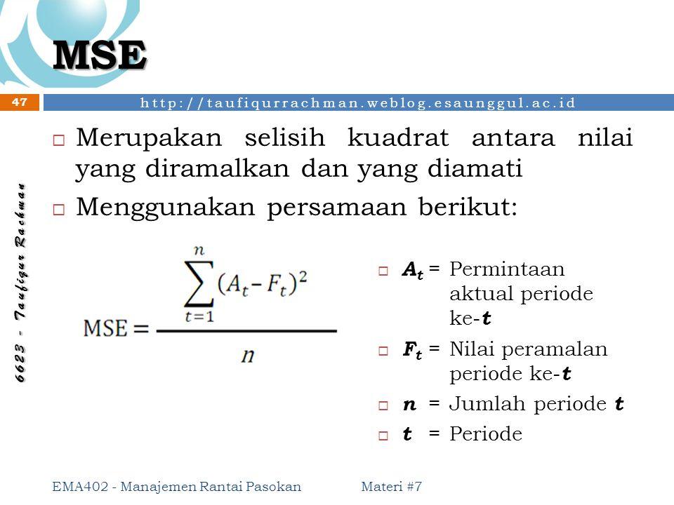 MSE Merupakan selisih kuadrat antara nilai yang diramalkan dan yang diamati. Menggunakan persamaan berikut: