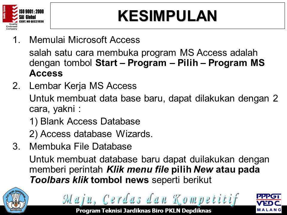 KESIMPULAN Maju, Cerdas dan Kompetitif Memulai Microsoft Access
