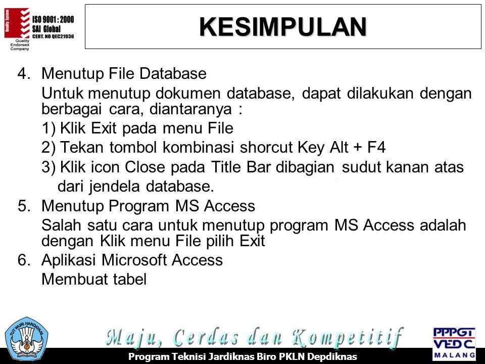 KESIMPULAN Maju, Cerdas dan Kompetitif 4. Menutup File Database