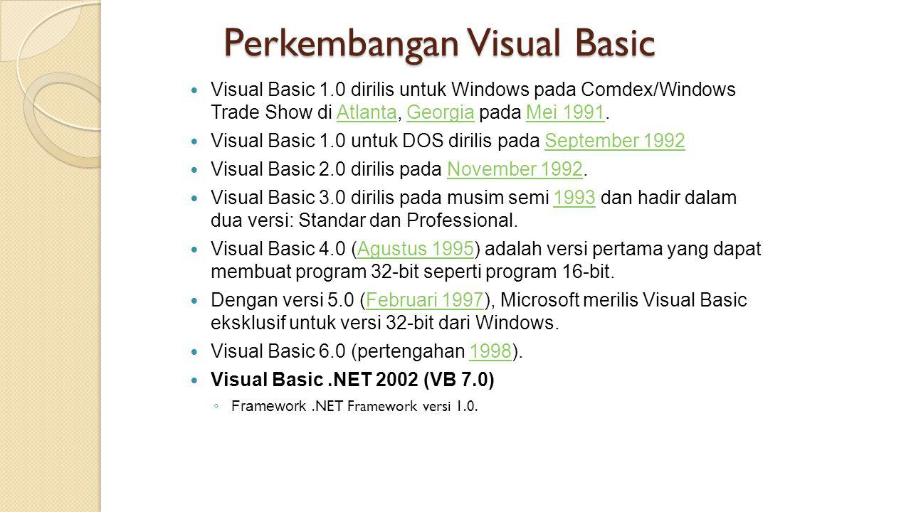 Perkembangan Visual Basic
