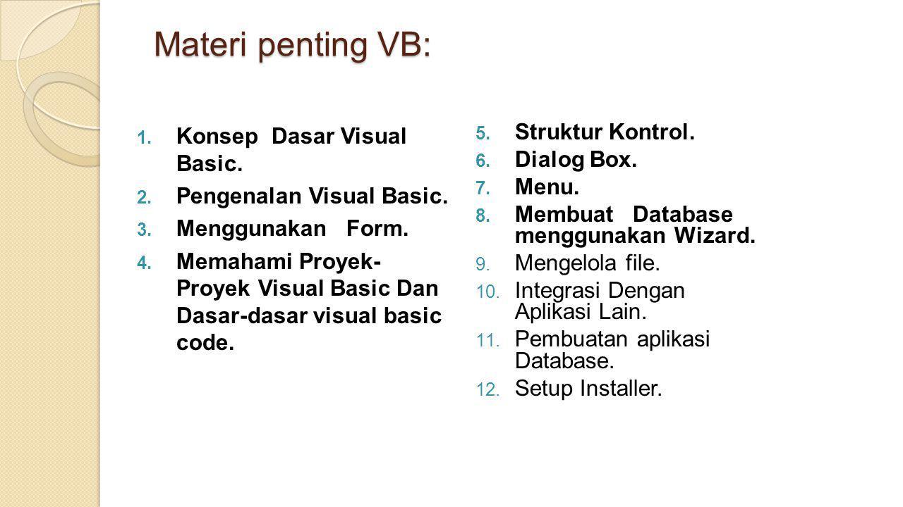 Materi penting VB: Struktur Kontrol. Konsep Dasar Visual Basic.